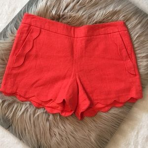 Scalloped coral/orange linen shorts